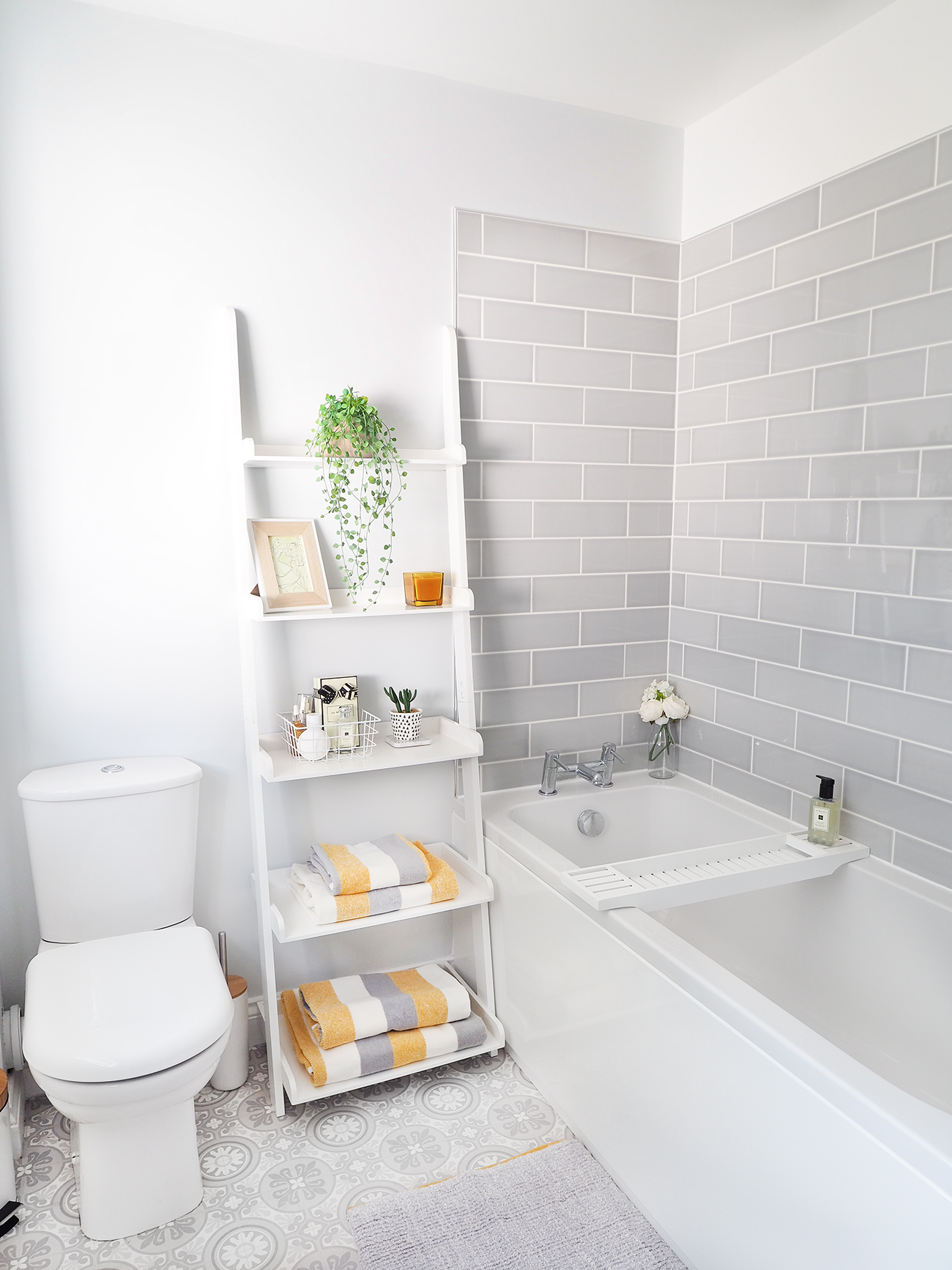 grey subway tiled bathroom makeover