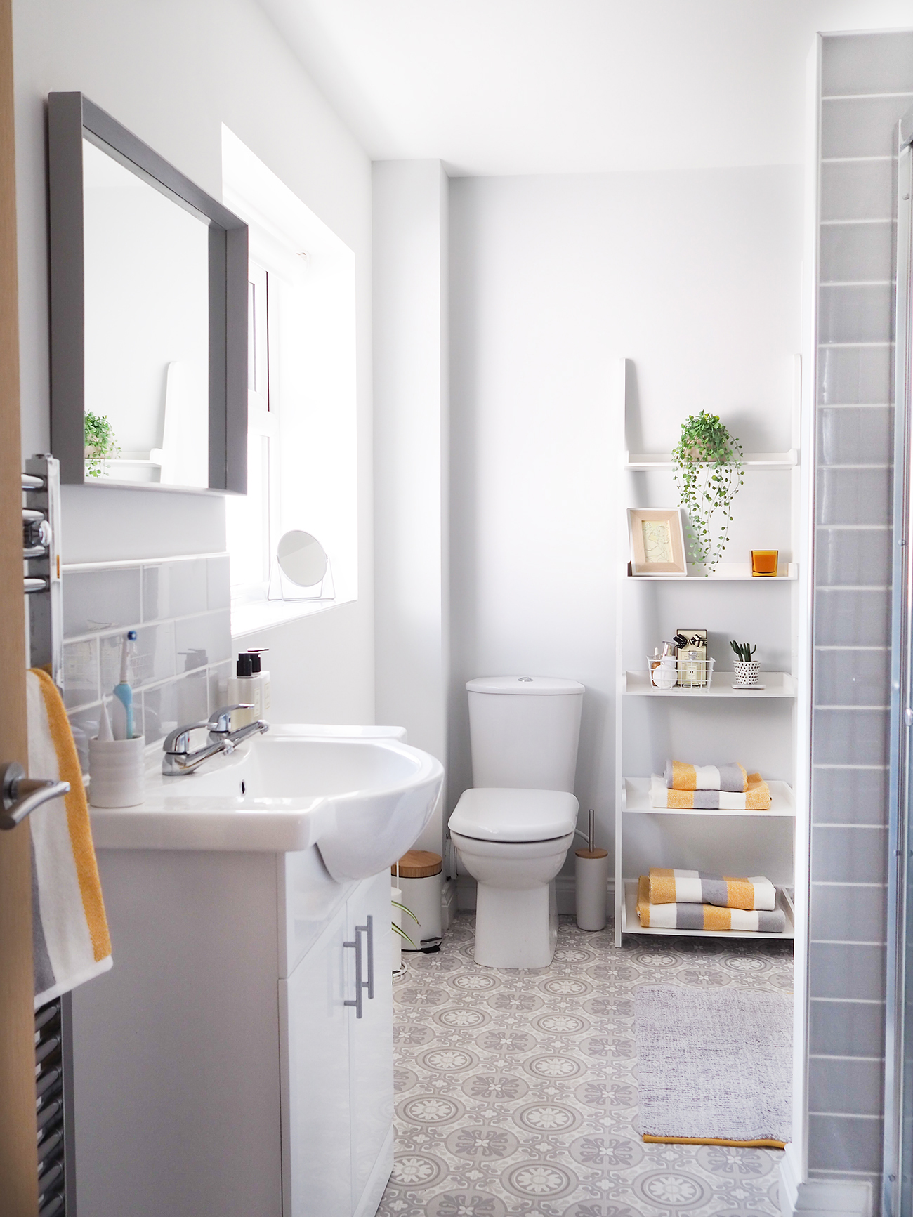 grey and yellow bathroom makeover