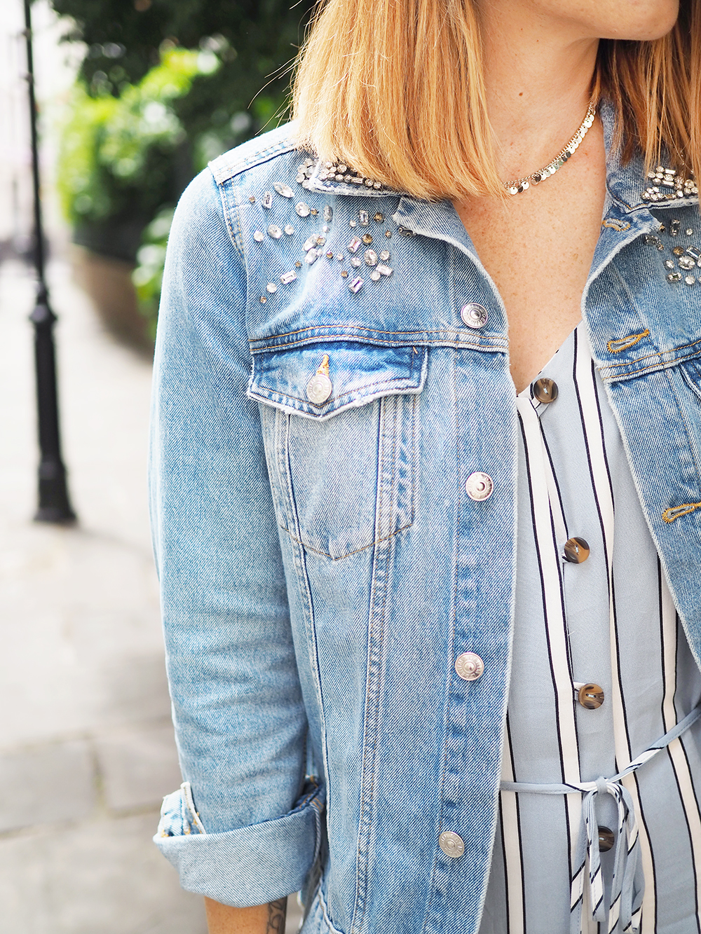 denim jacket with jewel embellishments