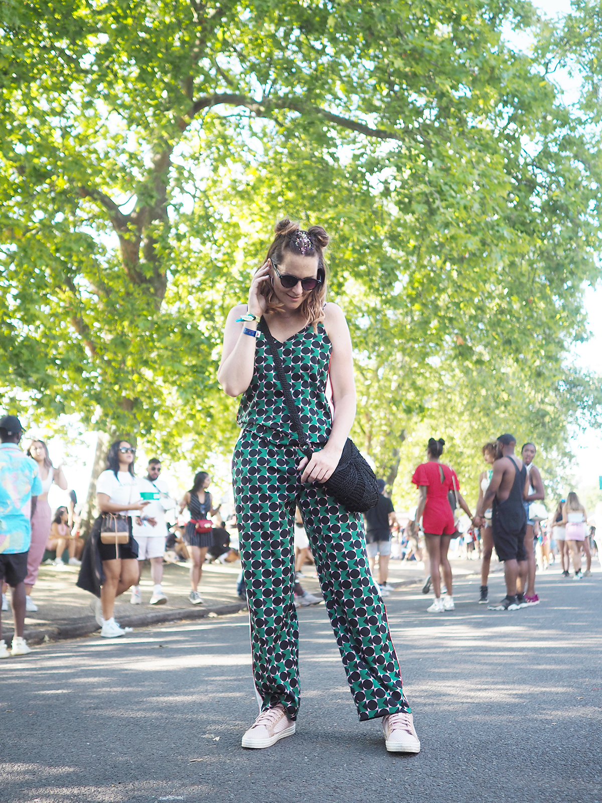 Festival outfit bright graphic Noisy May co ord
