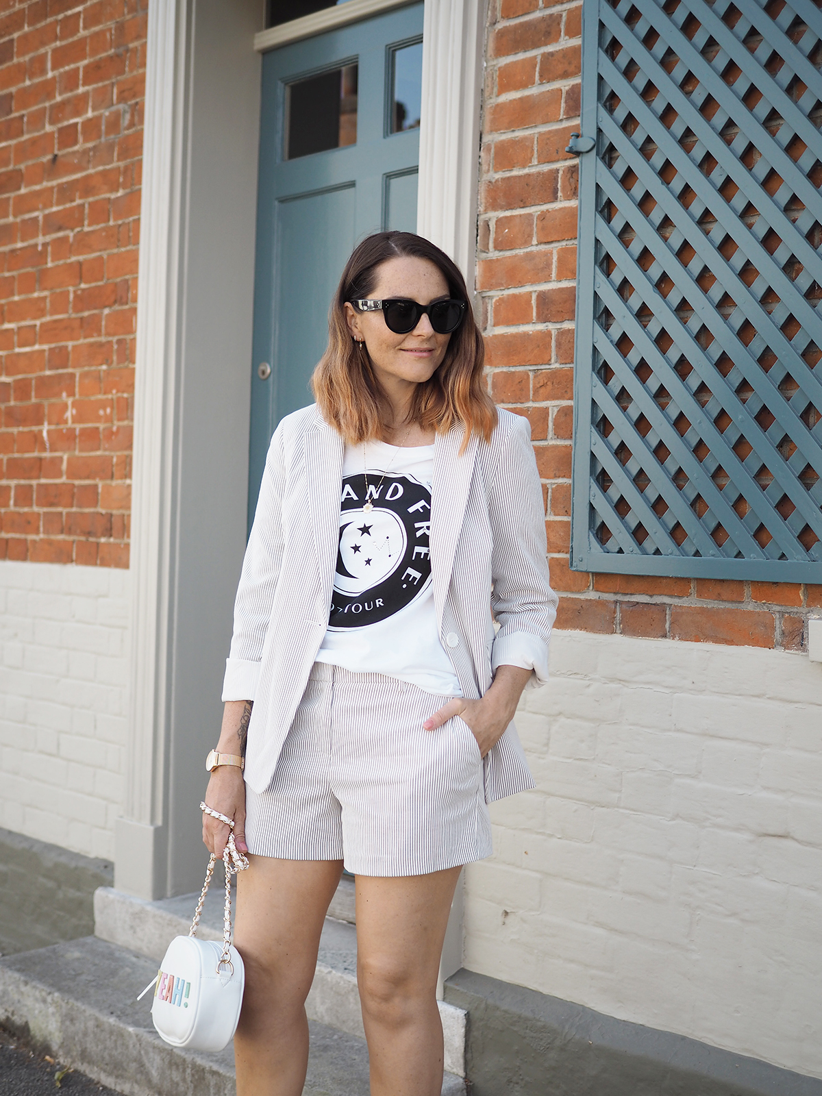 dorothy perkins striped short suit with slogan tee outfit