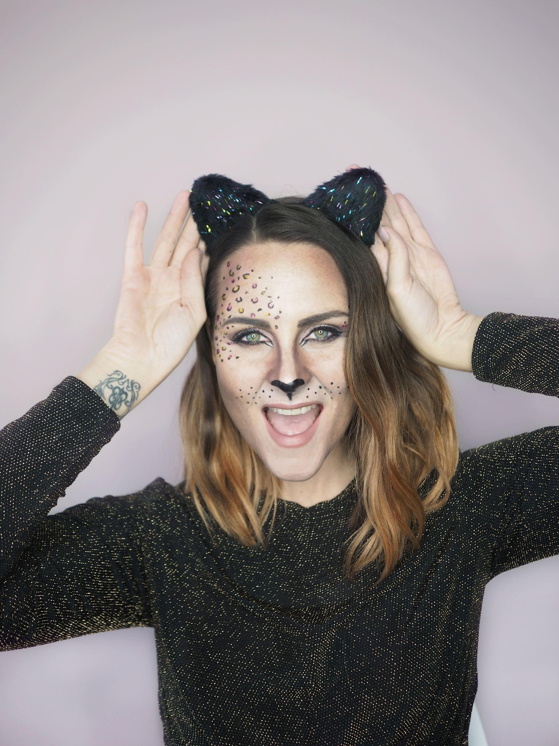 cat halloween makeup pink and gold