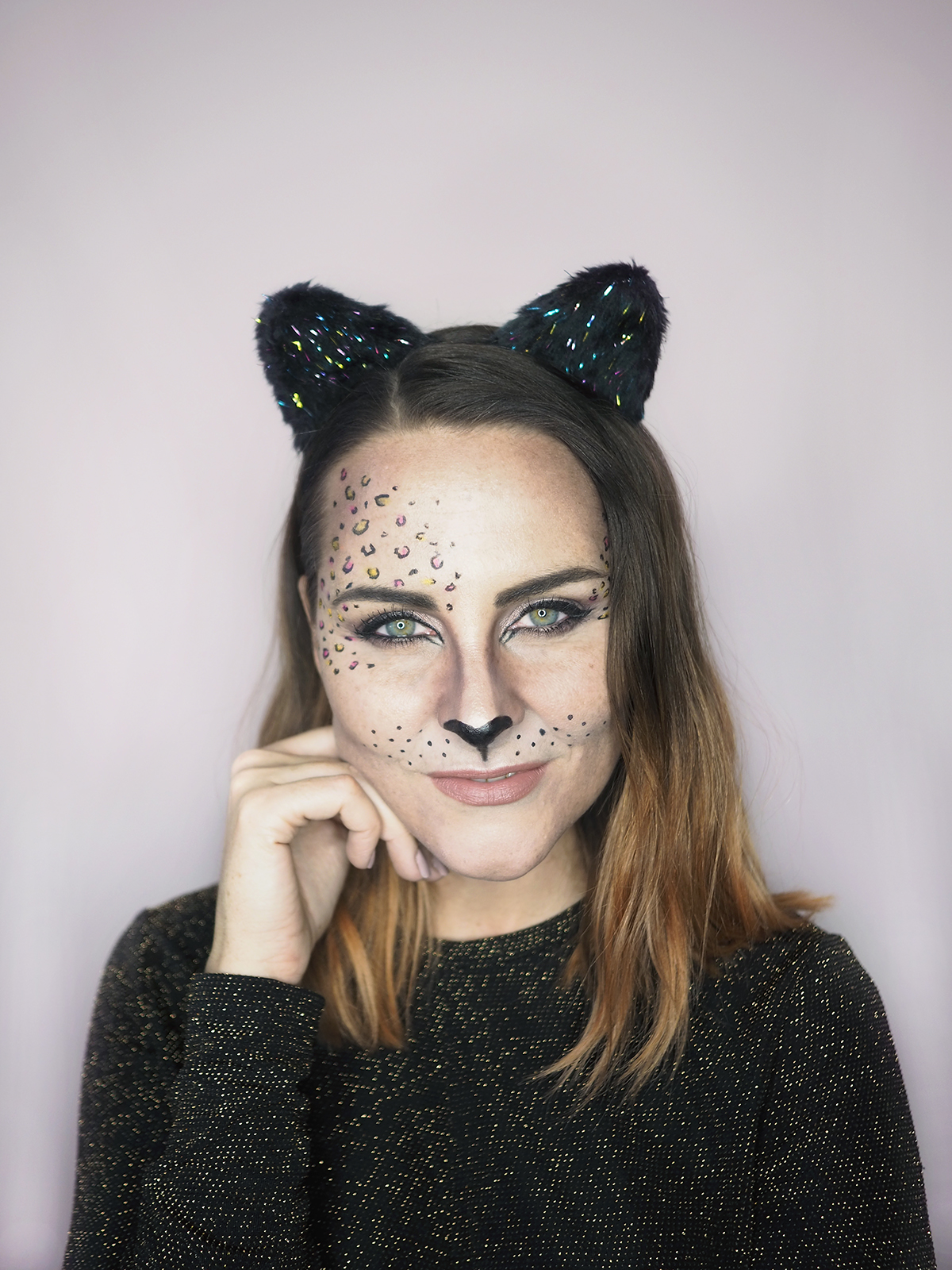 Halloween cat makeup ideas rose gold leopard print