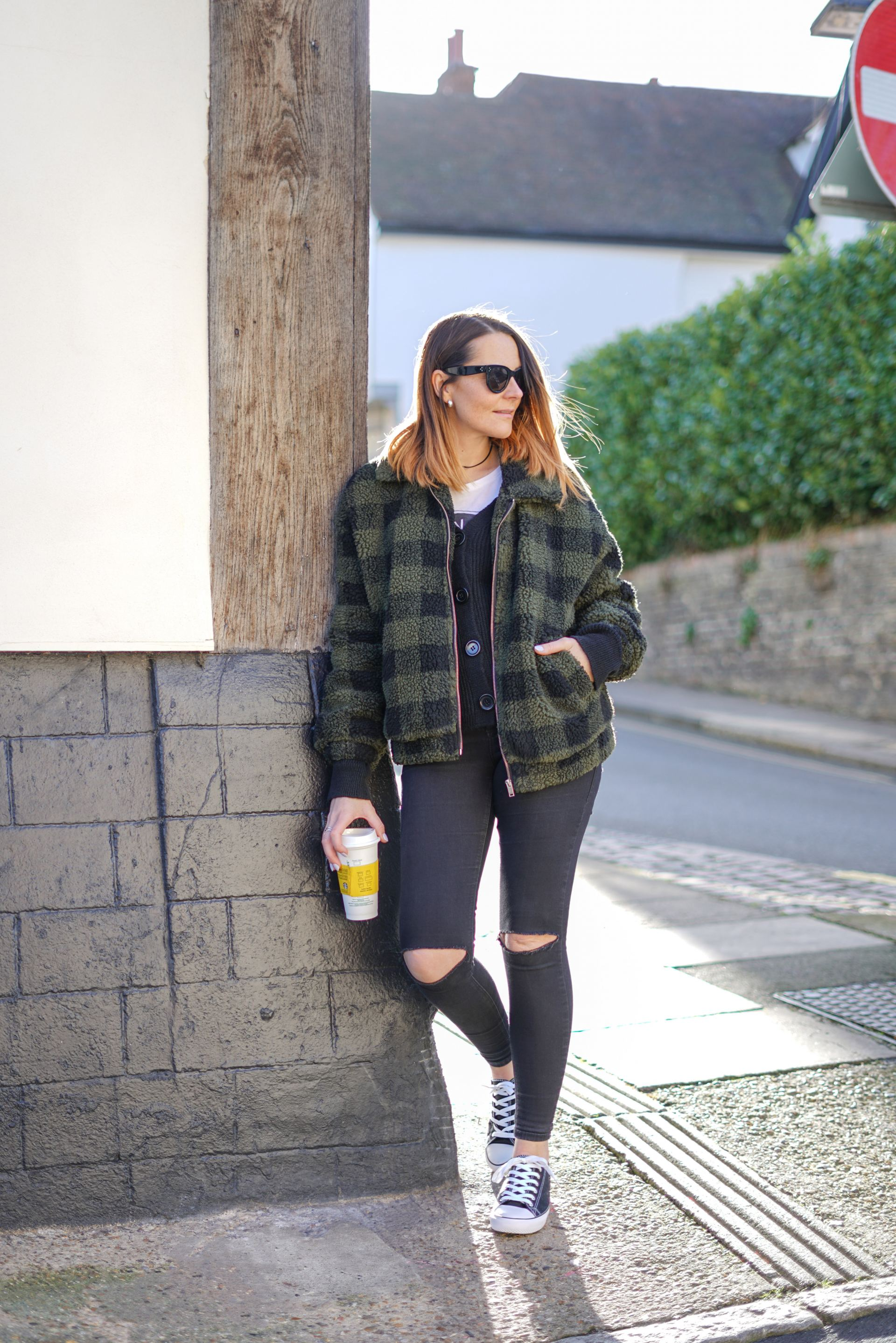 new look jacket and ripped black jeans outfit