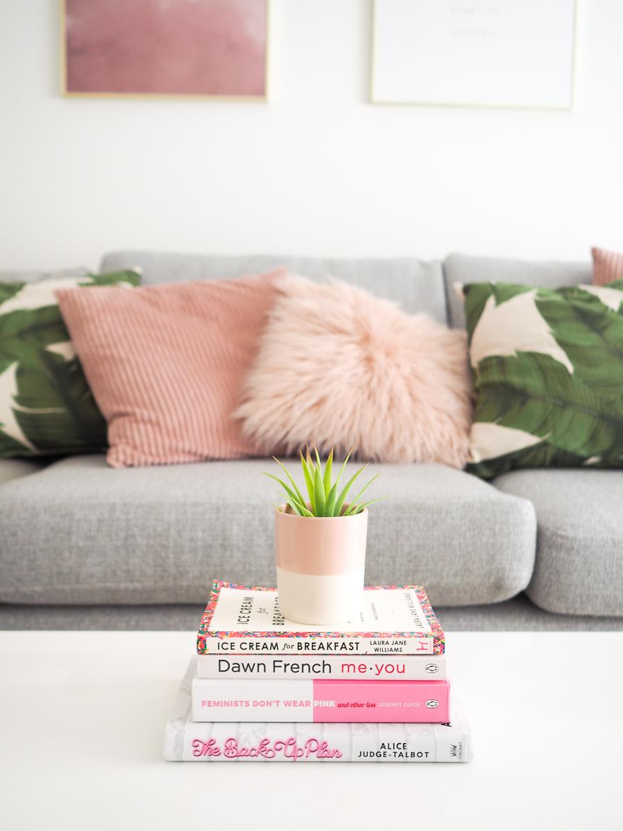 living room grey sofa palm print cushions