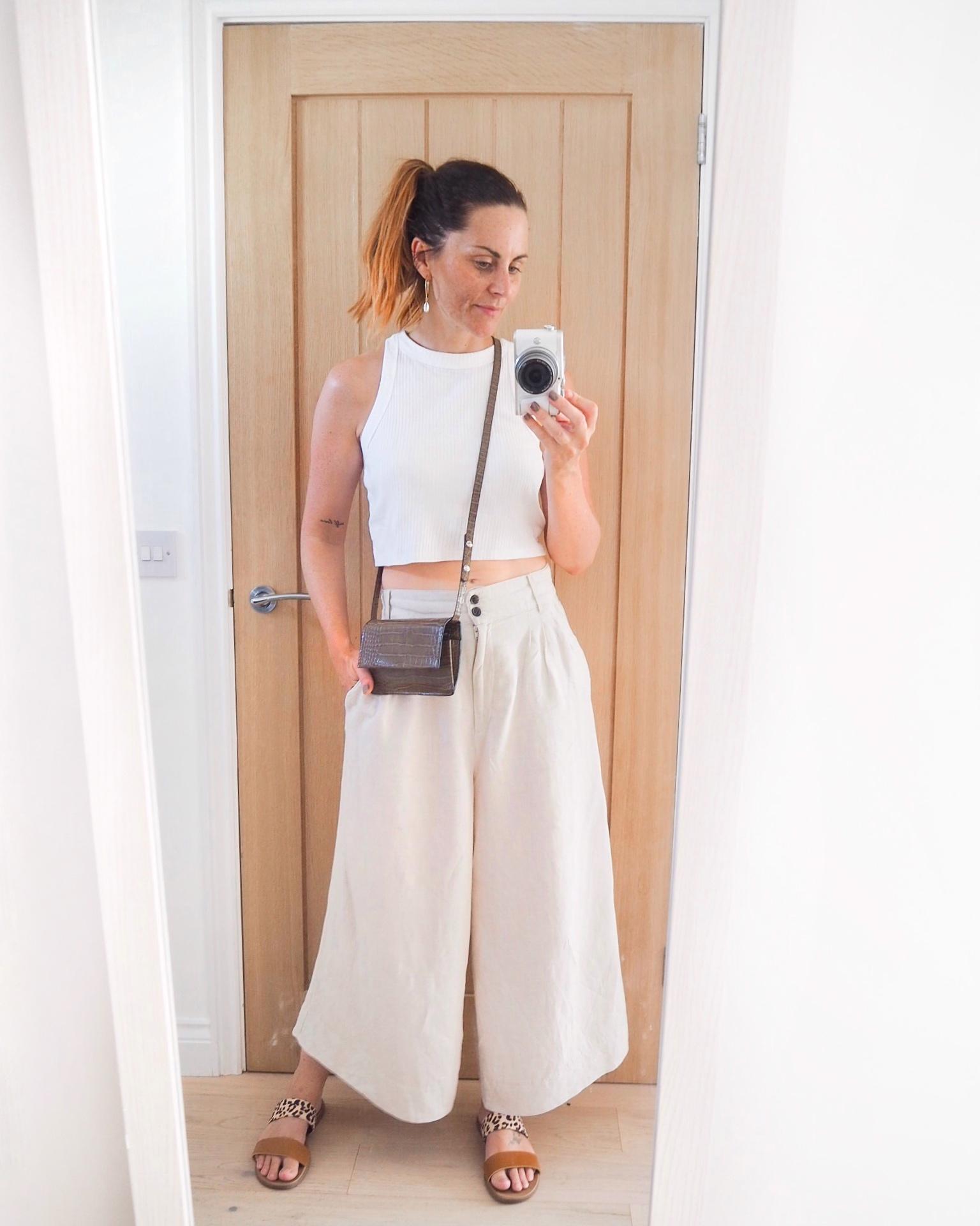 beige linen outfit