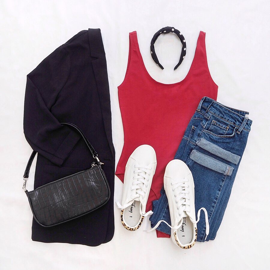 casual daytime outfit flat lay