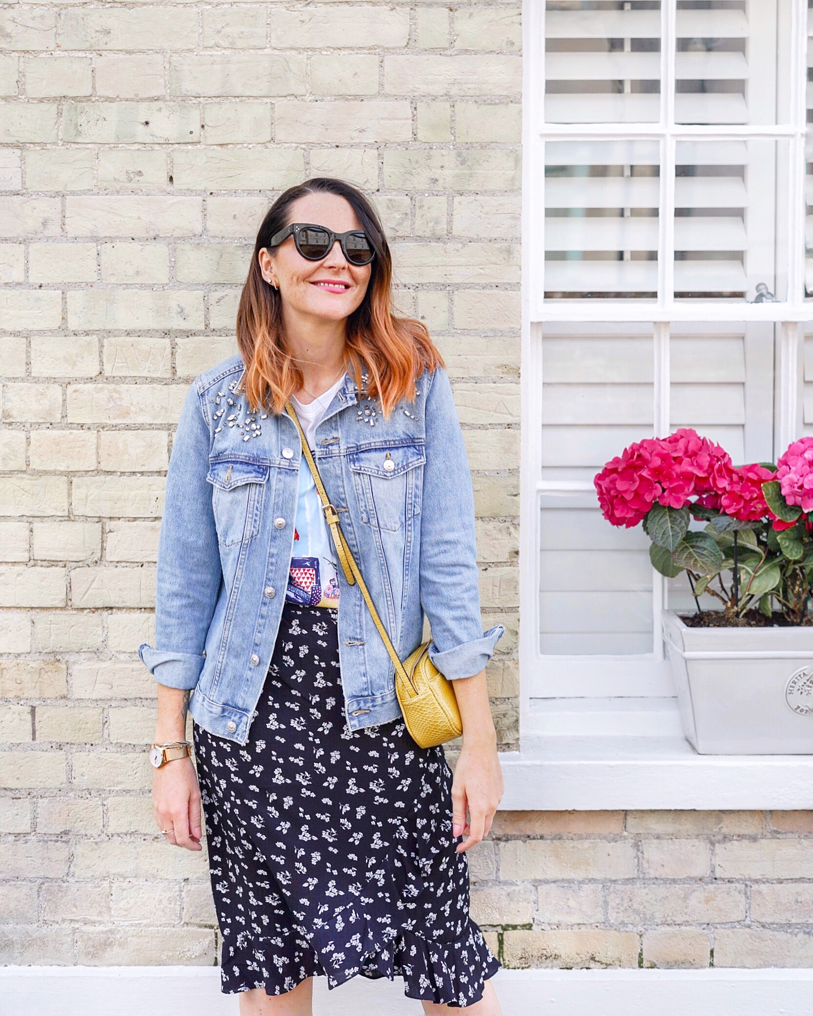 denim jacket with skirt outfit