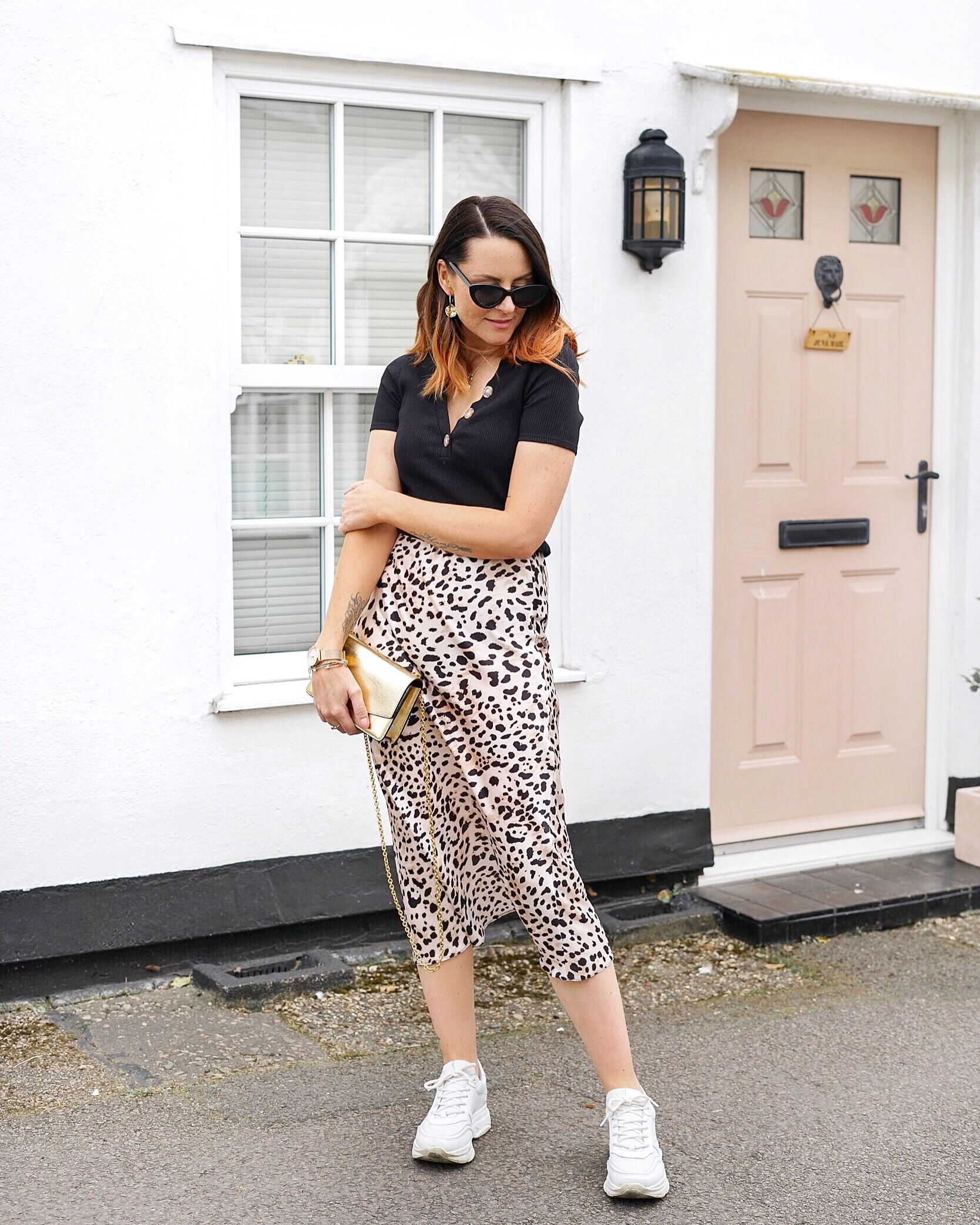 silky leopard midi skirt