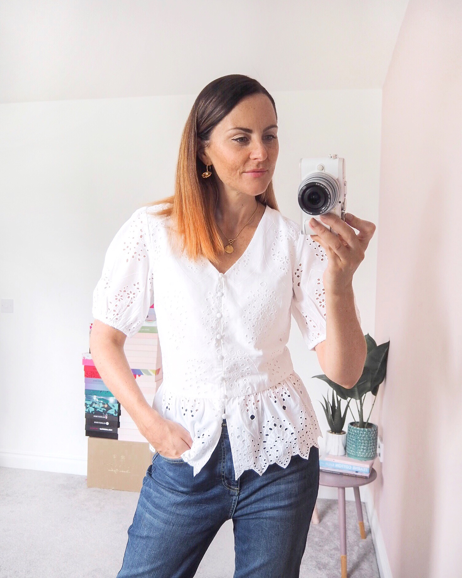white cotton blouse outfit