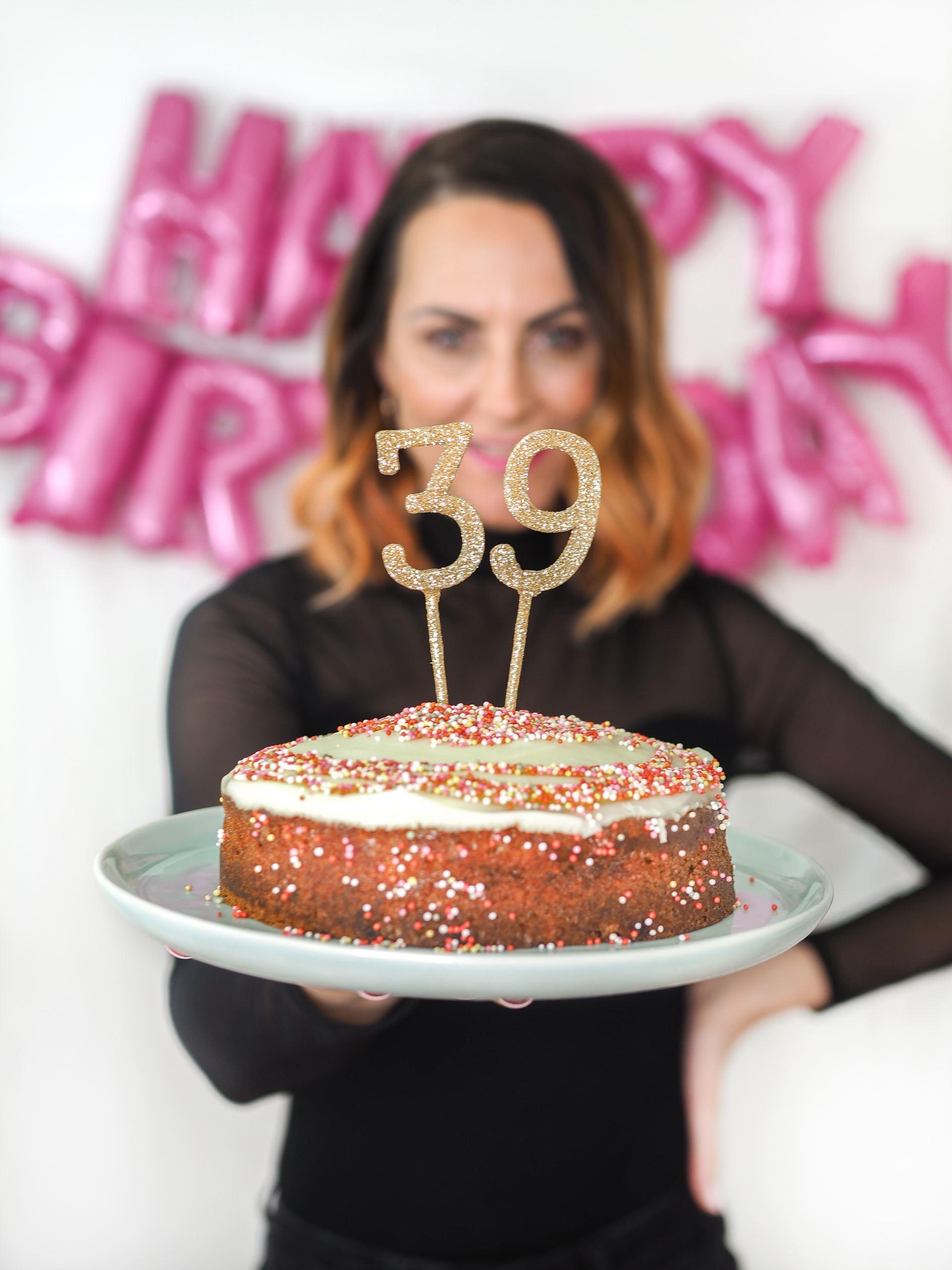 birthday cake and confetti photo